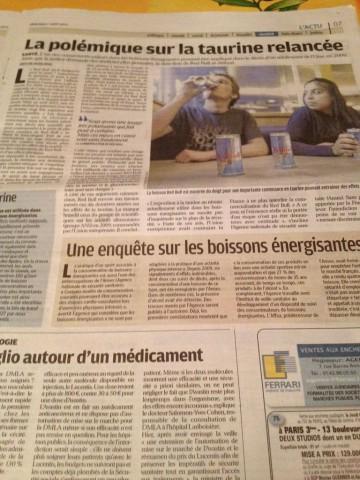 フランスの新聞 レッドブルの記事