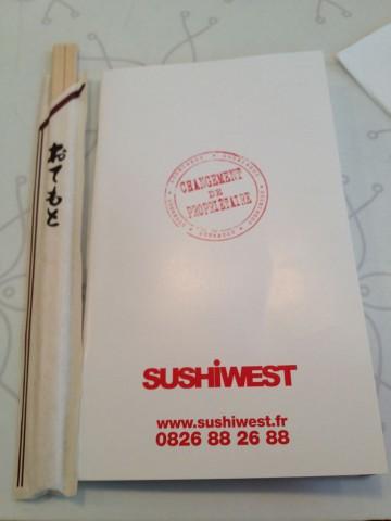 フランス パリ サンジェルマン『Sushi West』メニュー