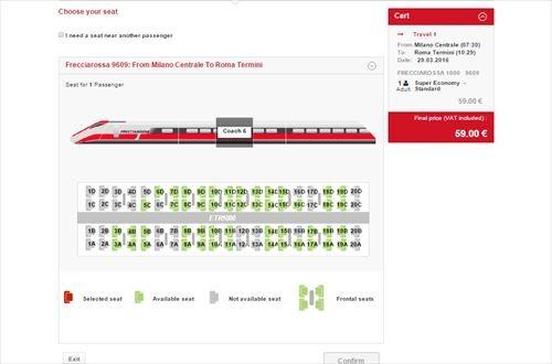 イタリア国鉄 座席指定画面