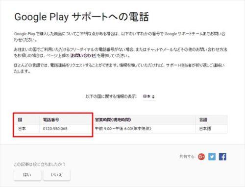 Google Playサポートチームへの電話