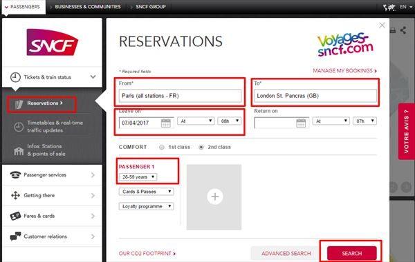 SNCFチケット検索