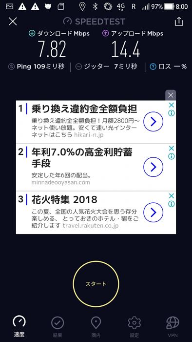SK Telecom・KTプリペイドデータSIM スピードテスト