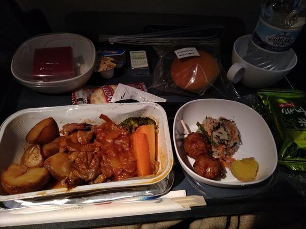 ブリティッシュ・エアウェイズ機内食・ビーフ