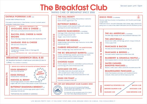 The Breakfast Club朝食メニュー