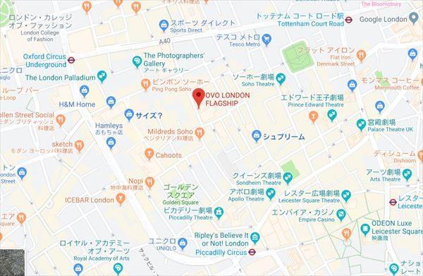 OVO LONDON FLAGSHIP地図
